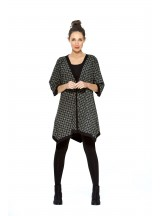 Tami Cotton Poncho in Black shippo  Print