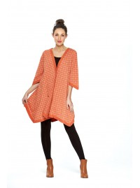 Tami Cotton Poncho in Orange shippo  Print