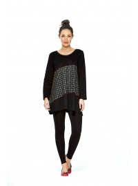 Umi Long Sleeve Cotton Tunic - Black -Shippo  Print