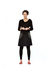 Kaori Cotton Skirt- Black with Shippo print