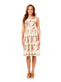 Jude Cotton 50's Petal Print A Line Dress