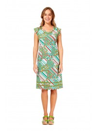 Cassy Cotton Braid Dress Brighton Print