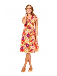 Astrid Cotton Wrap Dress - Geisha Print
