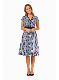 Leela Cotton Wrap Dress - Quant Print