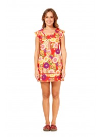 Cassy Cotton Braid Dress- SHORT - Geisha Print