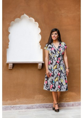 Astrid Cotton Wrap Dress - Nikko Print
