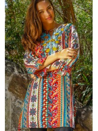 Angie Tunic with Embroidery- Fresco Print