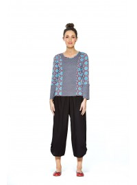 Matilde Cotton  Top - Earth & Crisscross Print