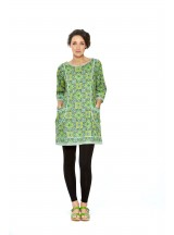 Connie L/S Dress - Lime Paisley Print