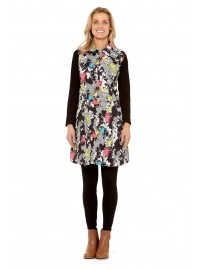 Molly Cotton Pleated Tunic - pockets - Nikko Print