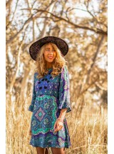 Angie Tunic with Embroidery- Boheme Print