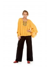 Sidney  Top - Mustard Crepe Rayon