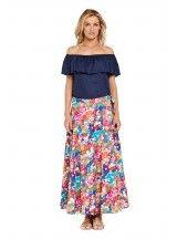 Grace Long Cotton Wrap Skirt - Sendai Print