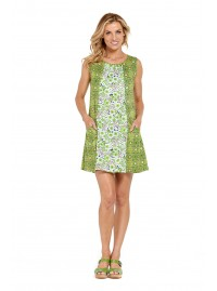 Ellen Tunic Dress  - Green Matrix print mix