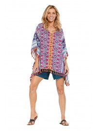Dana Poncho with Embroidery - Meena Print