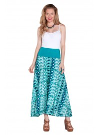 Nicole Long Cotton Voile Skirt – Turquoise Ikat Print