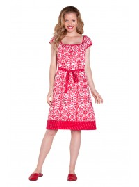 Josie Cotton Tunic Dress - Red Jacquard Print