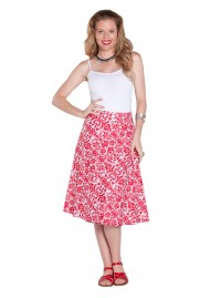 Beth Cotton Wrap Skirt – Red Jacquard Print