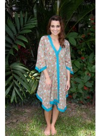 Libby Cotton Voile Poncho in Vintage Spring Print