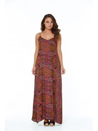 Clarissa Strappy Maxi Dress - Pink Paisley Print