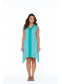 Antoinette Cotton Voile Tunic in Sky  Print