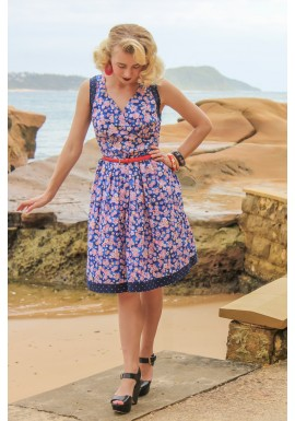 Paloma Cotton 50's 2 print Dress- Sakura + Navy Spot Prints