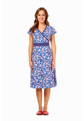 Leela Cotton Wrap Dress - Sakura Print