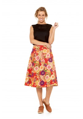 Beth Cotton Wrap Skirt – Geisha  Print
