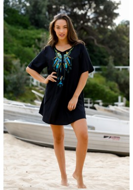 Butterfly  Poncho with Embroidery - Black