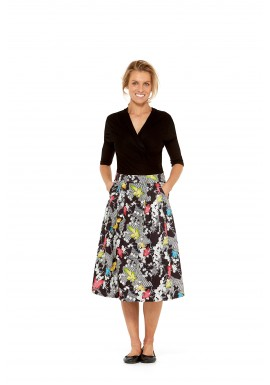 Jessica Pleat Cotton Skirt - Nikko Print