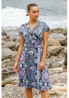Astrid Cotton Wrap Dress - Quant Print